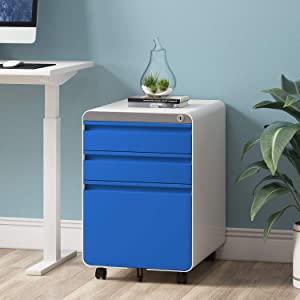 Dprodo 3 Drawers Mobile File Cabinet with Lock, Metal Filing Cabinet for Legal & Letter Size, Fully Assembled Locking File Cabinet for Home & Office,Blue