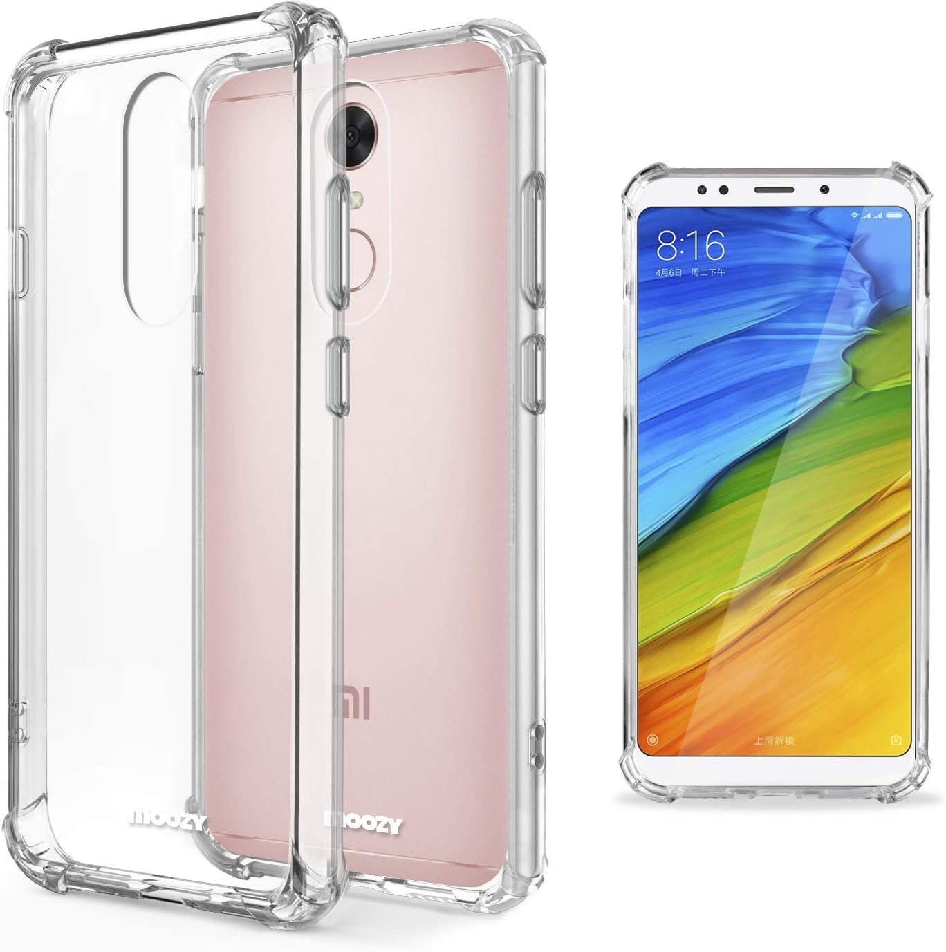 Moozy Funda Silicona Antigolpes para Xiaomi Redmi 5 - Transparente Crystal Clear TPU Case Cover Flexible