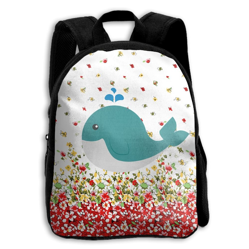 Cute Whale Kids Backpacks Double Shoulder Print School Bag Travel Gear Daypack Gift by LAUR