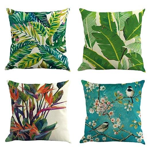 Fossrn Fundas Cojines 45x45, Tropical Floral Hojas Cuadrado Funda de Almohada Decoración del hogar (4pc)