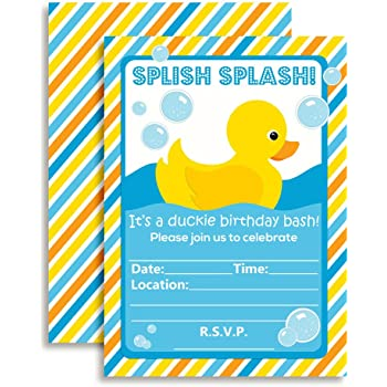 Amazon big dot of happiness ducky duck fill in baby shower or little rubber duckie birthday party fill in invitations ten 5x7 fill in cards with 10 white envelopes by amandacreation filmwisefo