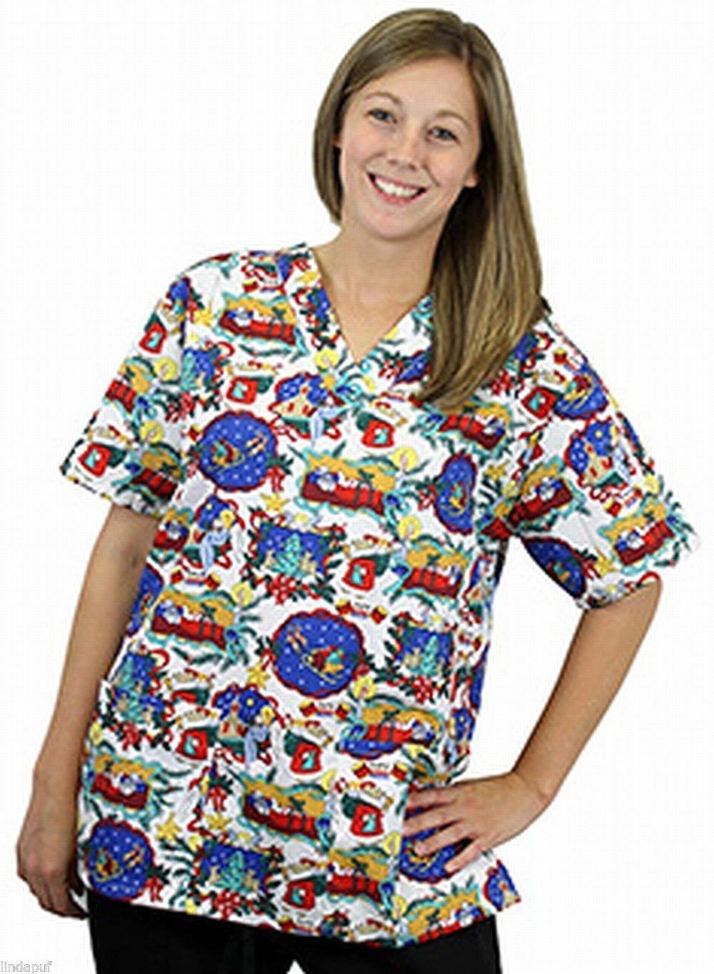Amazon.com: Women\'s 2 Pocket Holiday Print Scrub Top Extra Small ...
