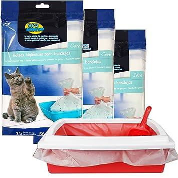 BPS® 45 Bolsas para Bandeja Arena Bolsa Caca Excrementos para Gatos Mascotas, Bolsa de Recambio Inferior Tamaño L Total 45 Bolsas (L: 45 Bolsas) ...