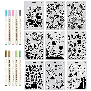 Set Mit 9 Wiederverwendbaren Schablonen 10 Stiften In 9