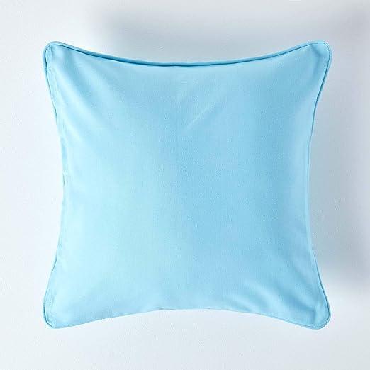 Homescapes - 100% Algodón Color Azul Cojín con Relleno - Tamaño Mediano Azul - 100% Algodón y Relleno Pad - Lavable, 100% Algodón, Azul, 45 x 45 cm: Amazon.es: Hogar
