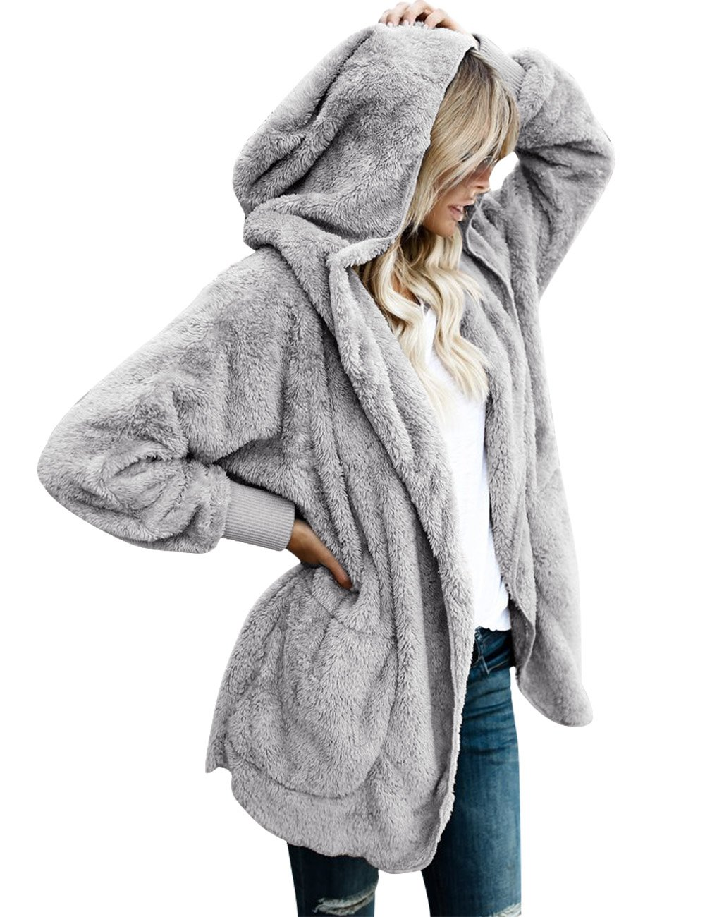 LookbookStore Women's Oversized Open Front Hooded Draped Pocket Cardigan Coat Size XL (Fit US 16 - US 18)