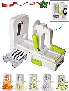 Vegetable Spiralizer, Foldable Premium 5 Blade Spiralizer Zucchini and Vegetable Spiral Slicer. Specially Made for Vege Based Diets.Bonus Spiralizer E-Book. SIMPLEJOY. Enjoy Healthy