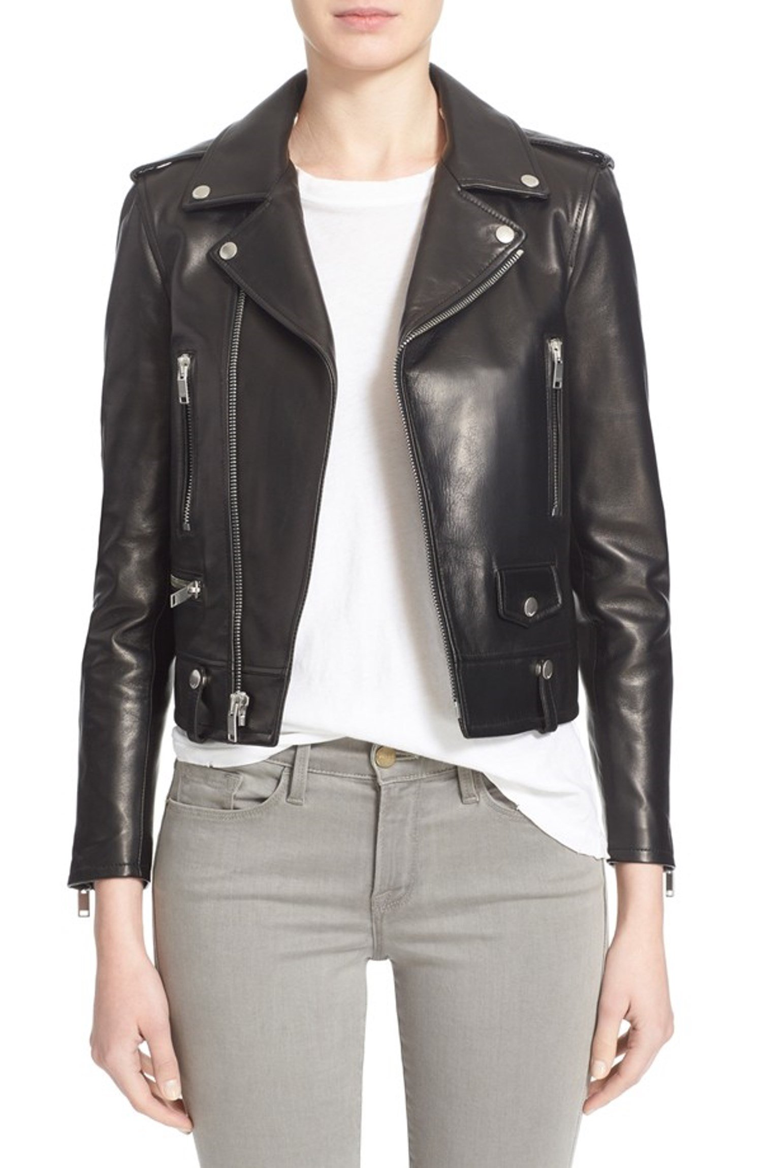 Prim leather Women's Lambskin Leather Bomber Biker Jacket Medium Black by Prim leather