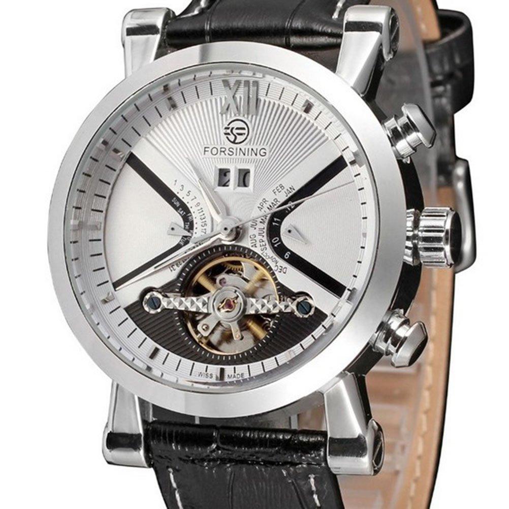 Pixnor–Mecánica De Cuarzo automático reloj de pulsera Fecha Esqueleto piel sintética–Reloj de pulsera hombre