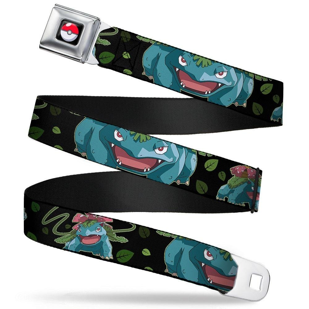 1.0 Wide Venusaur 3-Poses//Leaves Black//Greens 20-36 Inches in Length Buckle-Down Seatbelt Belt