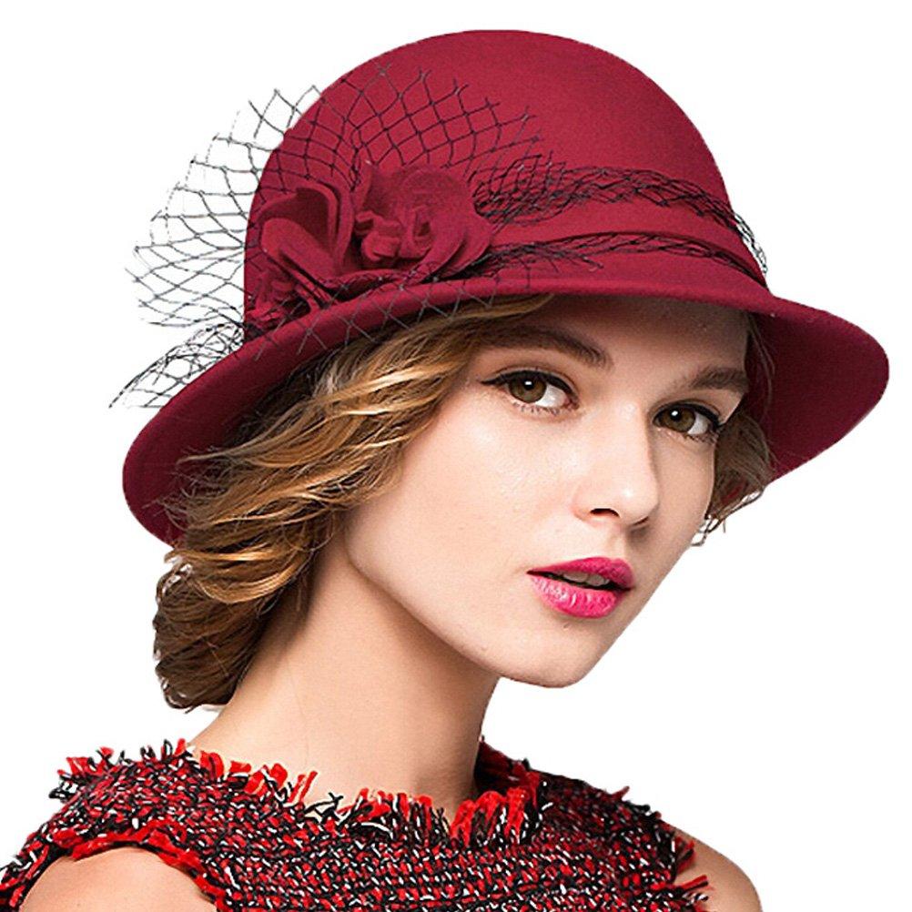 Maitose&Trade; Women's Wool Felt Bowler Hat Red