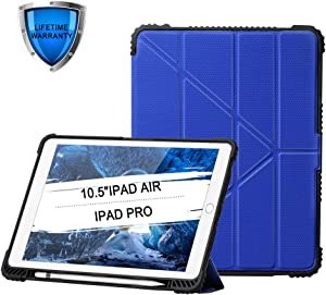 NUVO ACS CASE - iPad Pro 10.5 / iPad Air 3 Case Convenient Magnetic Stand Sleep/Wake Cover with Built-in Apple Pencil Holder PU Leather Smart Cover, Blue