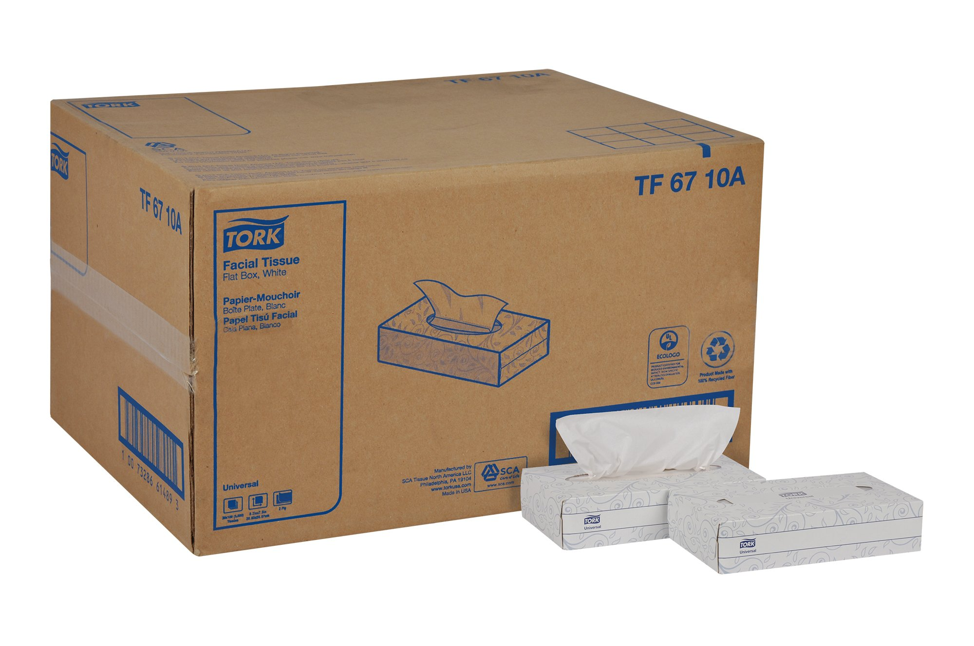 Tork Universal TF6710A Facial Tissue, Flat Box, 2-Ply, 8.2'' Width x 7.9'' Length, White (Case of 30 Boxes, of 100 per Box, 3,000 Sheets)