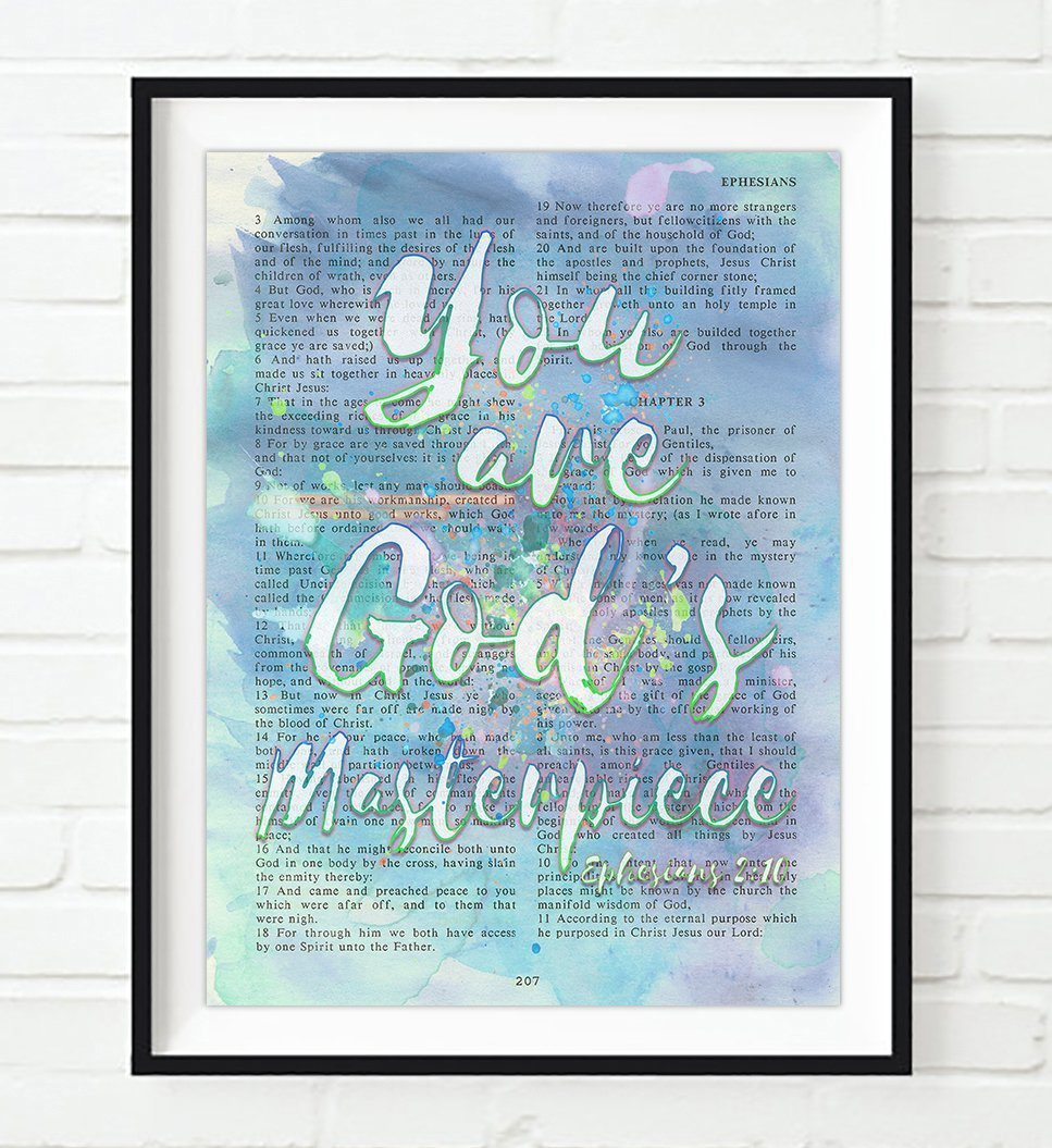 You are God's Masterpiece - Ephesians 2:10 - Vintage Bible verse wall ART PRINT, UNFRAMED, watercolor Christian dictionary page wall art home decor poster, Christmas gift, 8x10 inches
