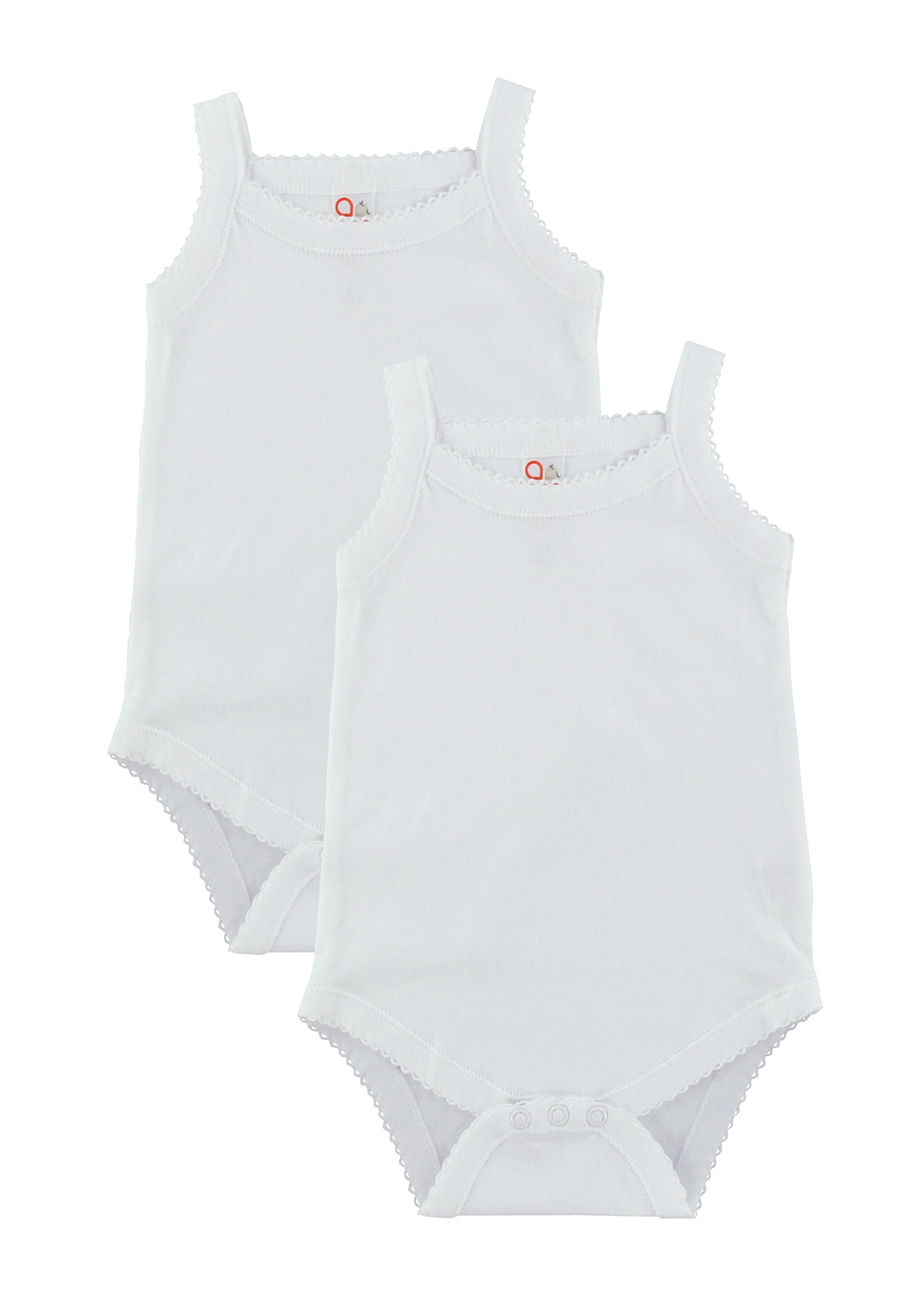 Baby and Toddler Girls White Camisole Onesie Bodysuit – W2GSNR – Size 12-18 – 2PK
