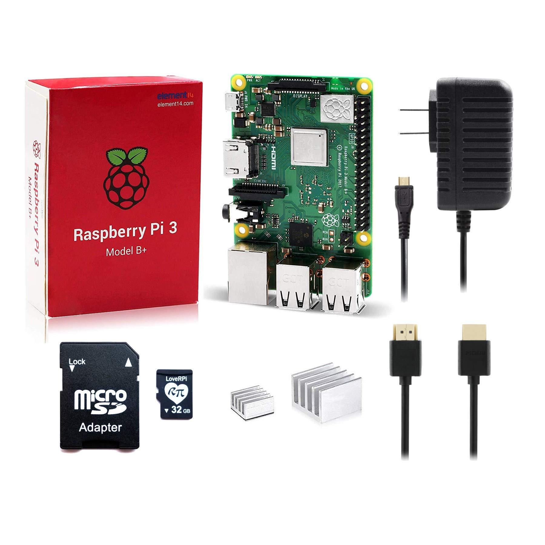 LoveRPi Raspberry Pi 3 B+ 32GB Plug and Play Starter Kit with Raspbian Desktop