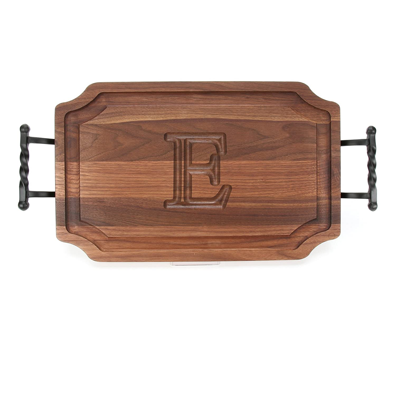 BigWood Boards W310-STWB-L Cutting Board with Twisted Ball Handle Finish with Scalloped Corners, 12-Inch by 18-Inch by 1-Inch, Monogrammed'L', Walnut