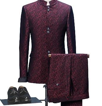 Premium Burgundy Jacquard Paisley Floral Pattern Slim Fit Tuxedo