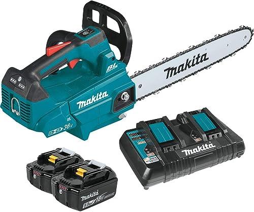 Makita XCU09PT Lithium-Ion Brushless Cordless 5.0Ah 18V X2 36V LXT 16 Top Handle Chain Saw Kit, Teal