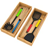 Bamboo Drawer Organizer Storage Box Kitchen - Wood Stackable Tray Set of 2, 15x6x2.5 inch