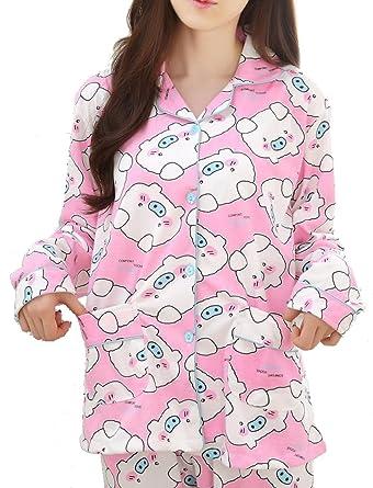 8f49ad1cb VENTELAN Women Sleepwear Cute Pig Pajamas Long Sleeve Cardigan Warm  Loungewear Pink at Amazon Women's Clothing store: