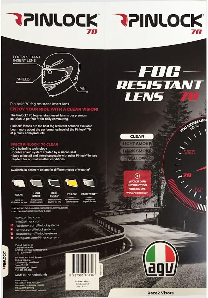 Corsa GT Veloce clara Insertar Pinlock lente AGV pista GP