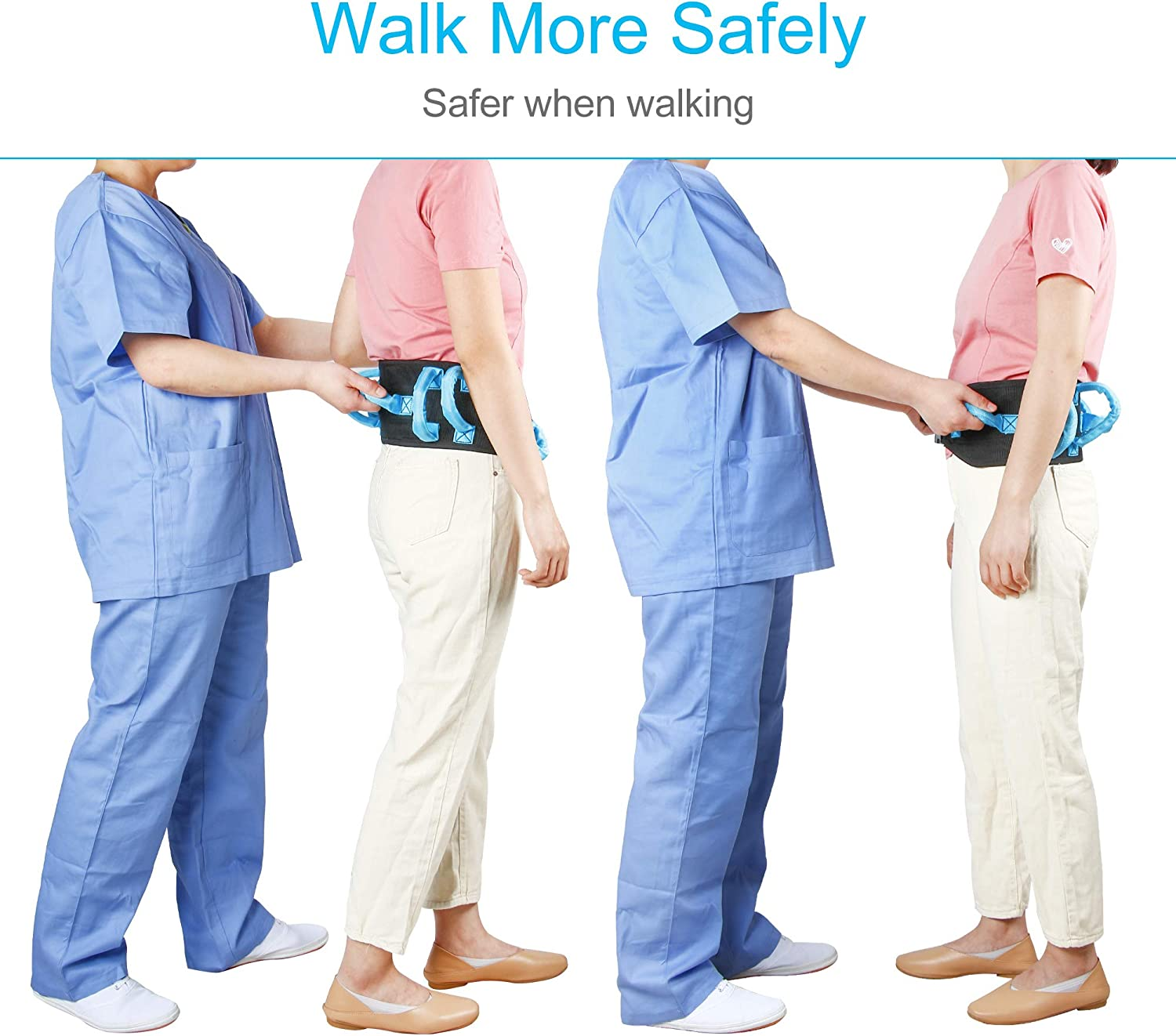 """REAQER Transfer and Walking Gait Belt with 7 Handles for Patient Care(Adjustable Waist Circumference:31""""~51""""): Health & Personal Care"""
