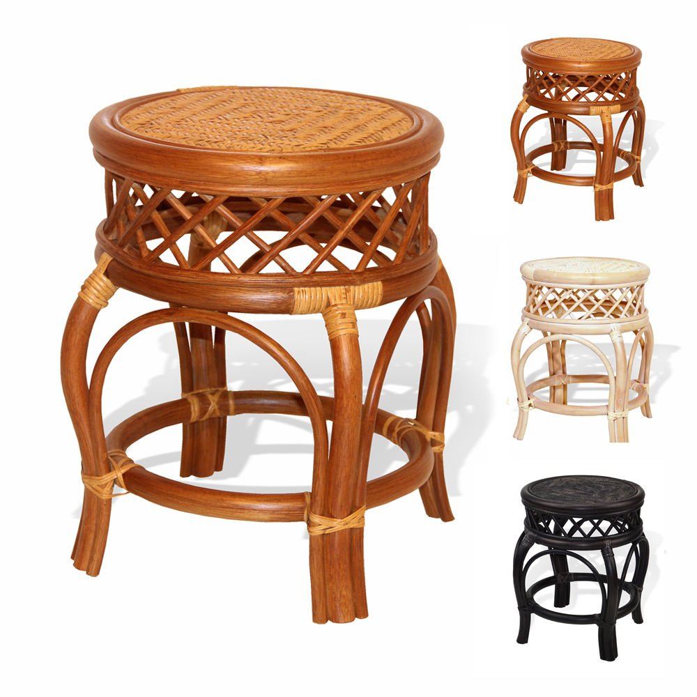 Ginger Handmade Rattan Wicker Stool Fully Assembled Colonial (Light Brown)