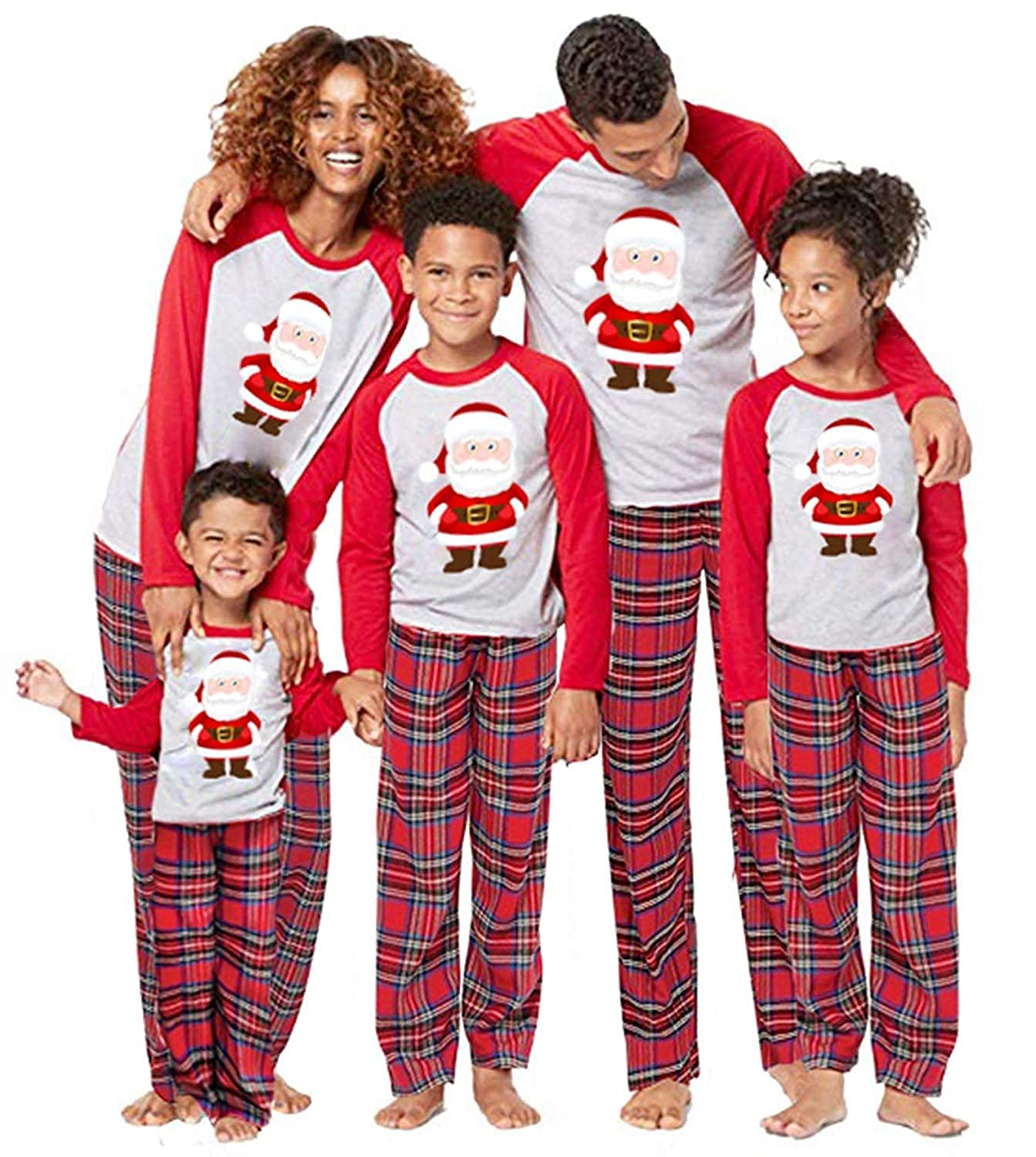 Family Matching 2 PCS Santa Claus Print Christmas Pajamas Sets O-Neck Long Sleeve T-Shirt Plaid Long Pants Homewear