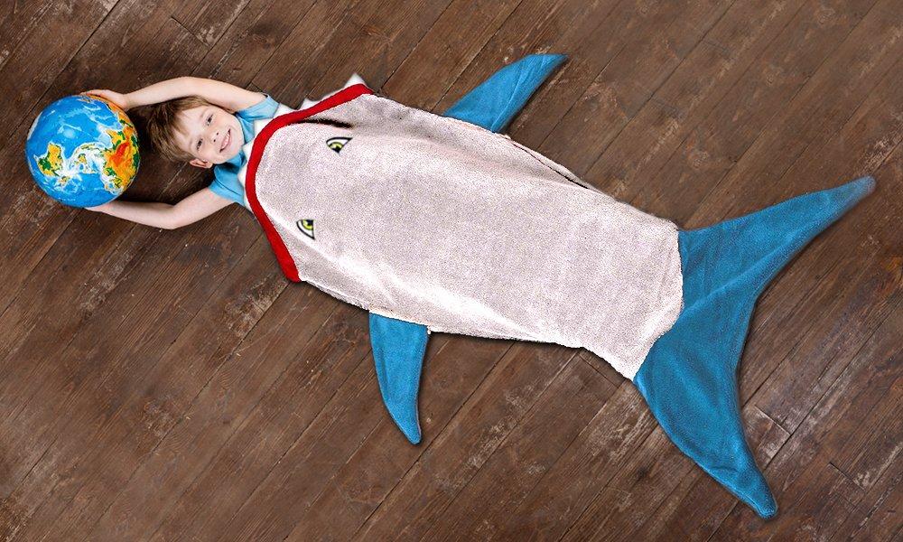 misure: 142/x 50/cm Blue perfetta per accoccolarsi sul divano o al letto per bambini da 3 a 12/anni Calda e soffice coperta a sacco per bambini a forma di squalo