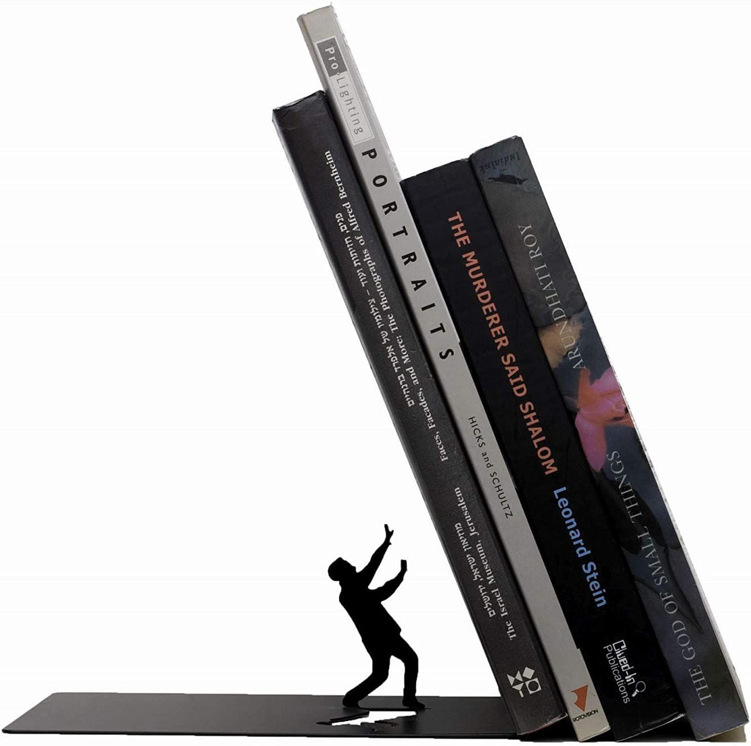 Amazon Com Artori Design Premium Heavy Duty Metal Bookend Black Book Stopper For Office Desk Or For Shelves Funny Decorative Book Ends Book Supporters Desk Decor Library Decor