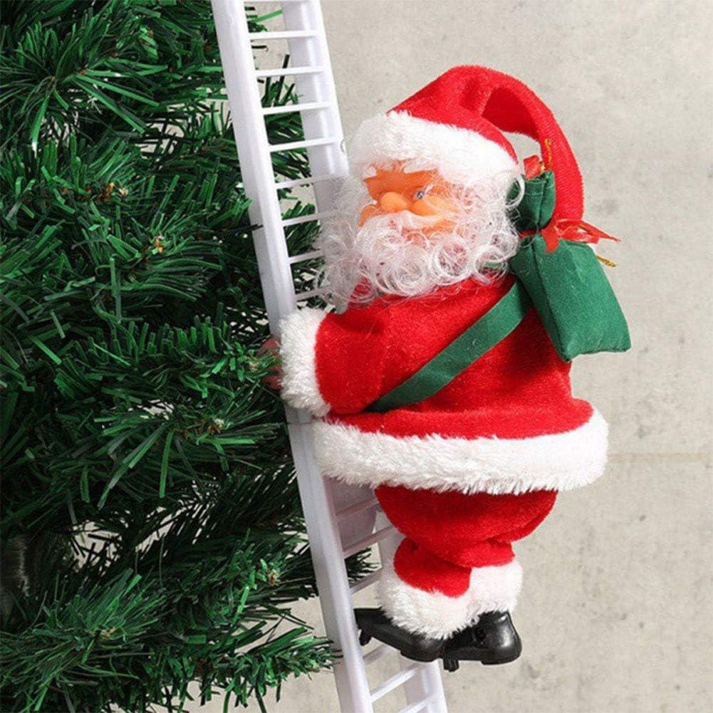 HTTJHCY Hermosa Navidad Papá Noel Escalera Eléctrica Escalera Decoración Colgante Adornos para Árboles De Navidad Divertido Año Nuevo Regalos para Niños Fiesta: Amazon.es: Hogar