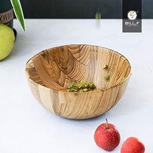 BILL.F Teak Wood Serving Bowl for Salads, Pasta, Fruits or Snack, 6