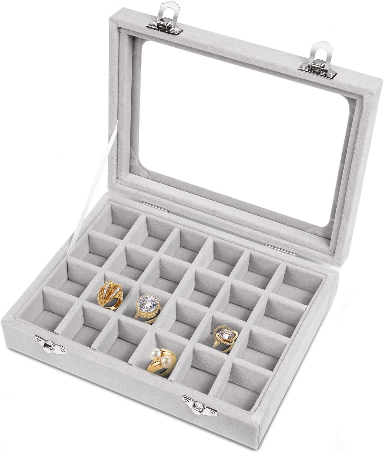 Pasutewel Earring Storage Case 24 Compartments Ring Velvet Display Case Box Earring Ring Organizer Velvet Jewelry Tray Cufflink Storage Showcase with Clear Glass Lid Grey