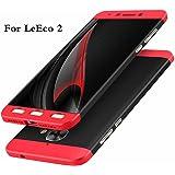 Bounceback ® LeEco Le 2 Case 3 in1 360º Anti Slip Super Slim Back Cover for Le Eco Le2 (Black & Red)