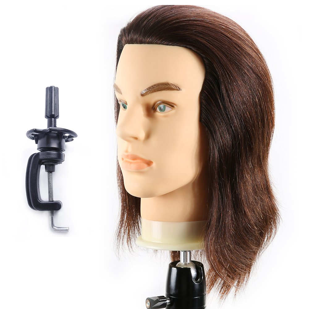 HAIREALM Male Mannequin Head 100% Human Hair Hairdresser Training Head Manikin Cosmetology Doll Head (Table Clamp Stand Included) HG0408W
