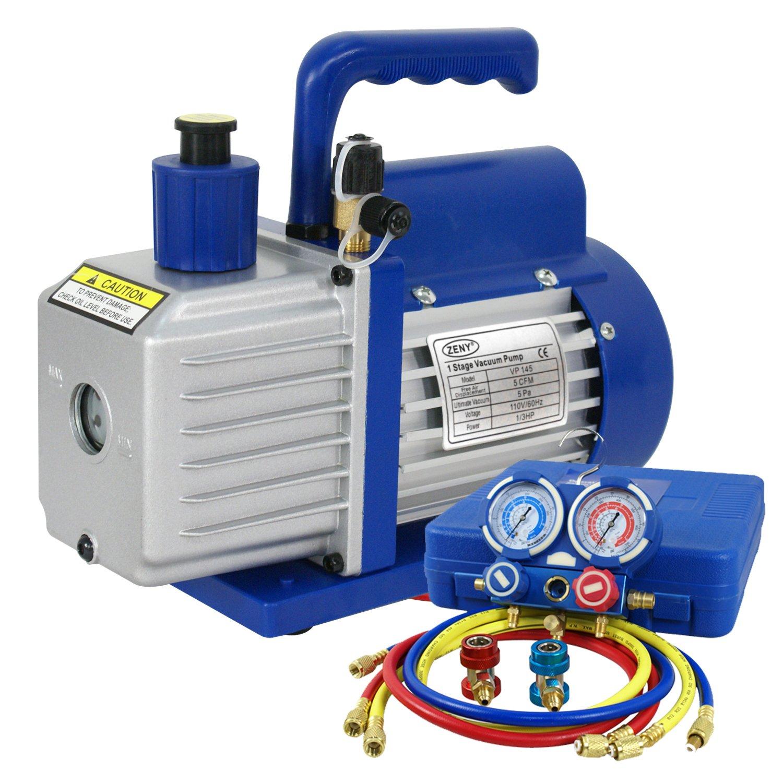 ZENY Combo 5CFM 1/3hp Air Vacuum Pump HVAC Refrigeration AC Manifold Gauge Set R134a Kit (5CFM+Manifold Gauge)