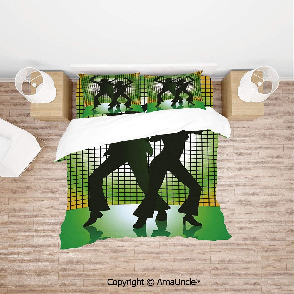 SCOCICI Silhouette Illustration of Couple Dancing in Disco Decorative 4Pcs Bedding Set Duvet Cover Set Bedding for Decoration
