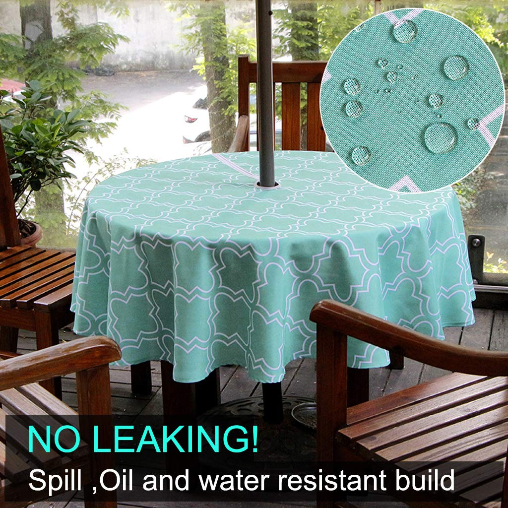 Water and Stain Resistant Round Tablecloth 60 inch Grey BTSKY Durable Patio Outdoor Umbrella Tablecloth with Zipper and Umbrella Hole Seating 4 People