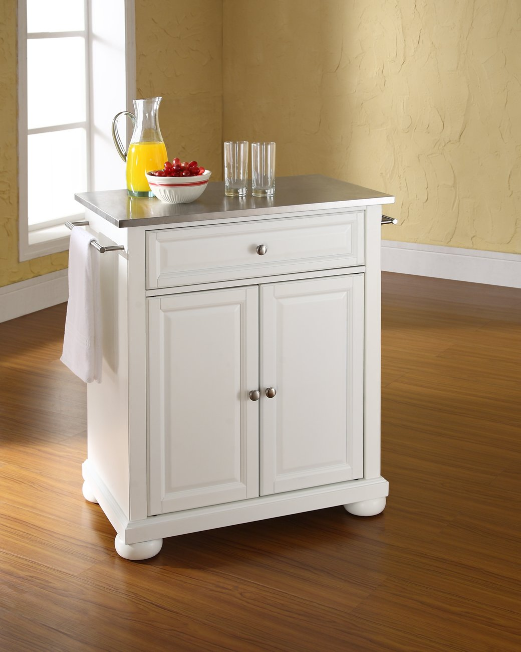 Crosley Furniture Alexandria Cuisine Kitchen Island with Stainless Steel Top – White
