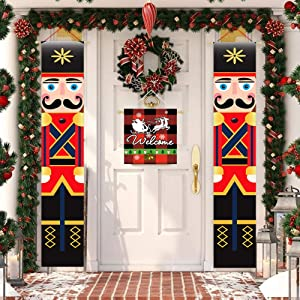 3-Pieces Merry Christmas Nutcracker Soldier Decor Welcome Santa Door Hanging Banner For Front Door Farmhouse Buffalo Red Black Check Plaid Vertical Porch Sign Yard Outdoor Rustic Decoration