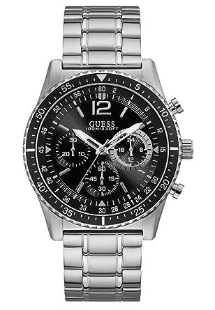 164a9568f67a Guess Hommes Chronographe Quartz Montre avec Bracelet en Acier Inoxydable  W1106G1