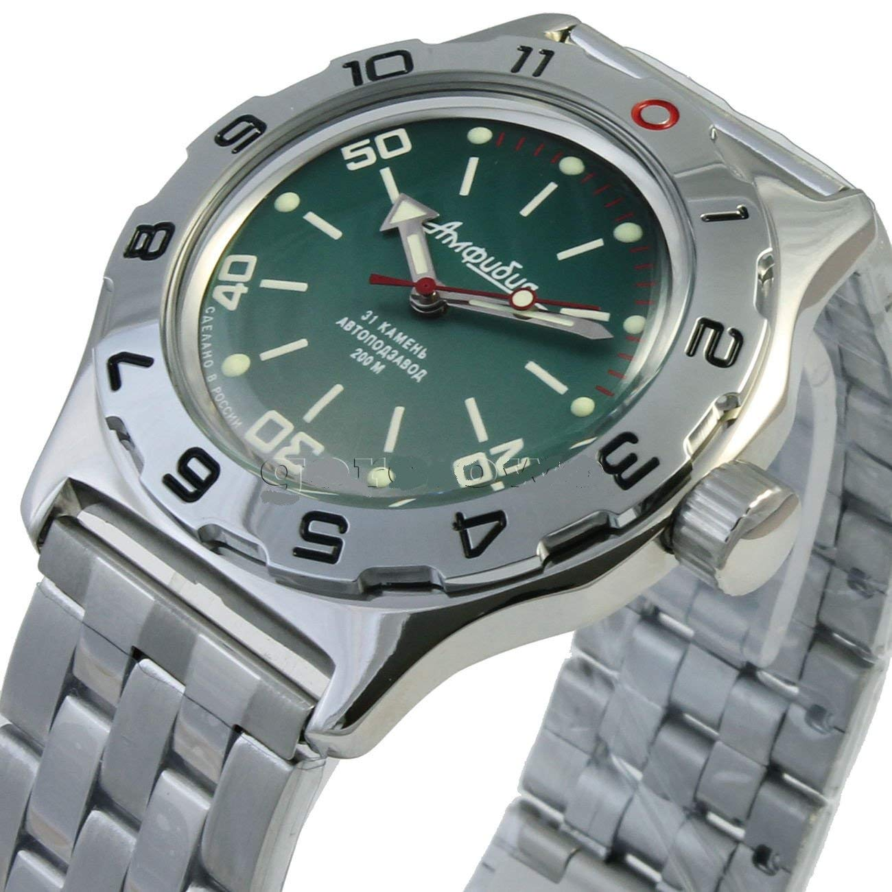Amazon.com: Vostok New Amphibian 100821 Russian Automatic Divers Wrist Watch 200m Auto Green: Vostok: Watches