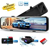 PORMIDO 12 inch Mirror Dash Cam with Split Front Camera 360°,Anti Glare Touch Screen Full HD 1920P,Car Rear View Backup Camer