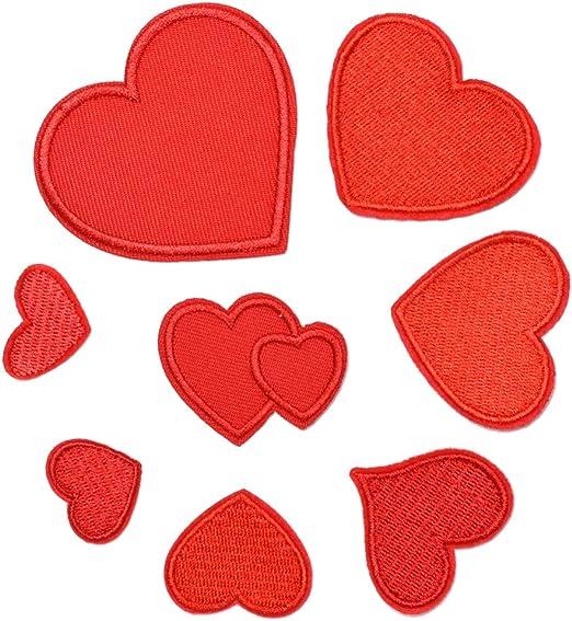 Rojo SUPVOX 16 piezas Parches Ropa Termoadhesivos De Coraz/ón Apliques Bordados Insignias Para Diy Jeans Chaqueta Bolsa De Tela Cap Art Craft