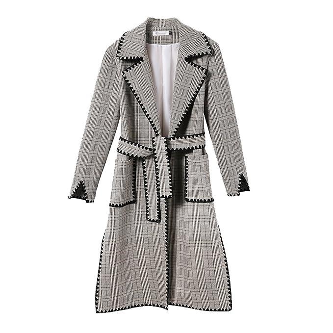 YAANCUN Mujeres Señoras de Moda Abrigo de Abrigo Plaid Color Sólido Cazadora de Largo Temperamento Abrigo con Cinturón de Invierno: Amazon.es: Ropa y ...