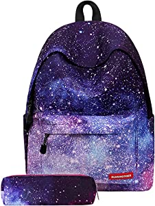 JOSEKO Student Bookbag, Galaxy School Backpack Shoulder Bag College Daypack Unisex Laptop Book Bag Rucksack Black# Pencil Case 11.8'' x 6.7'' x 15.74''(L x W x H)