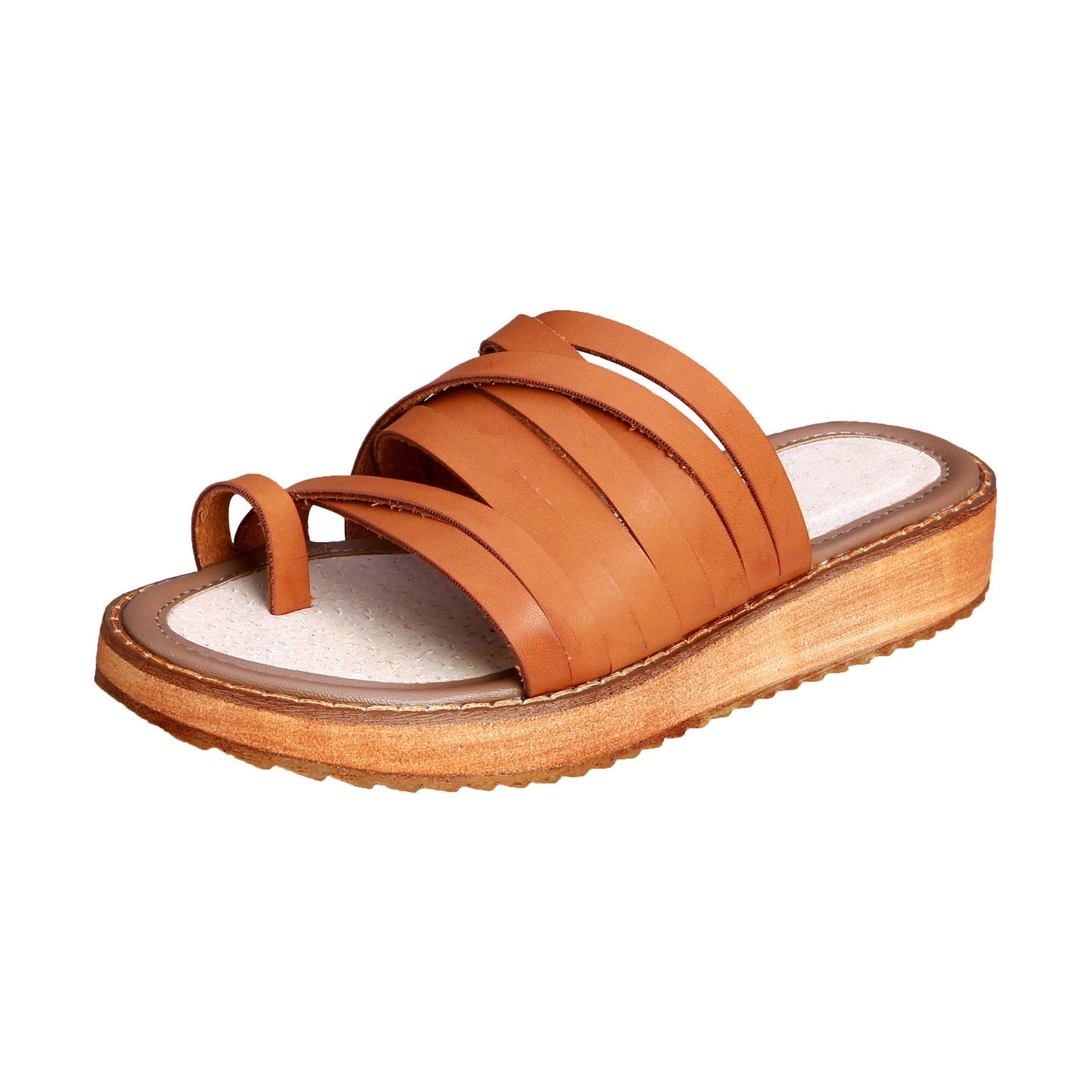 Smilun Girl's Roman Sandals Flip Flop Thong Cross Wrap Back Strap Metal Buckle Strap Flip Flops Thongs Sandals Flat Gladiator Sandals Brown US6.5