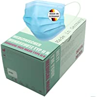Medische gebitsbeschermer type IIR 50 stuks, chirurgische gebitsbeschermer type 2R, blauw, Made in Germany, CE & EN14683