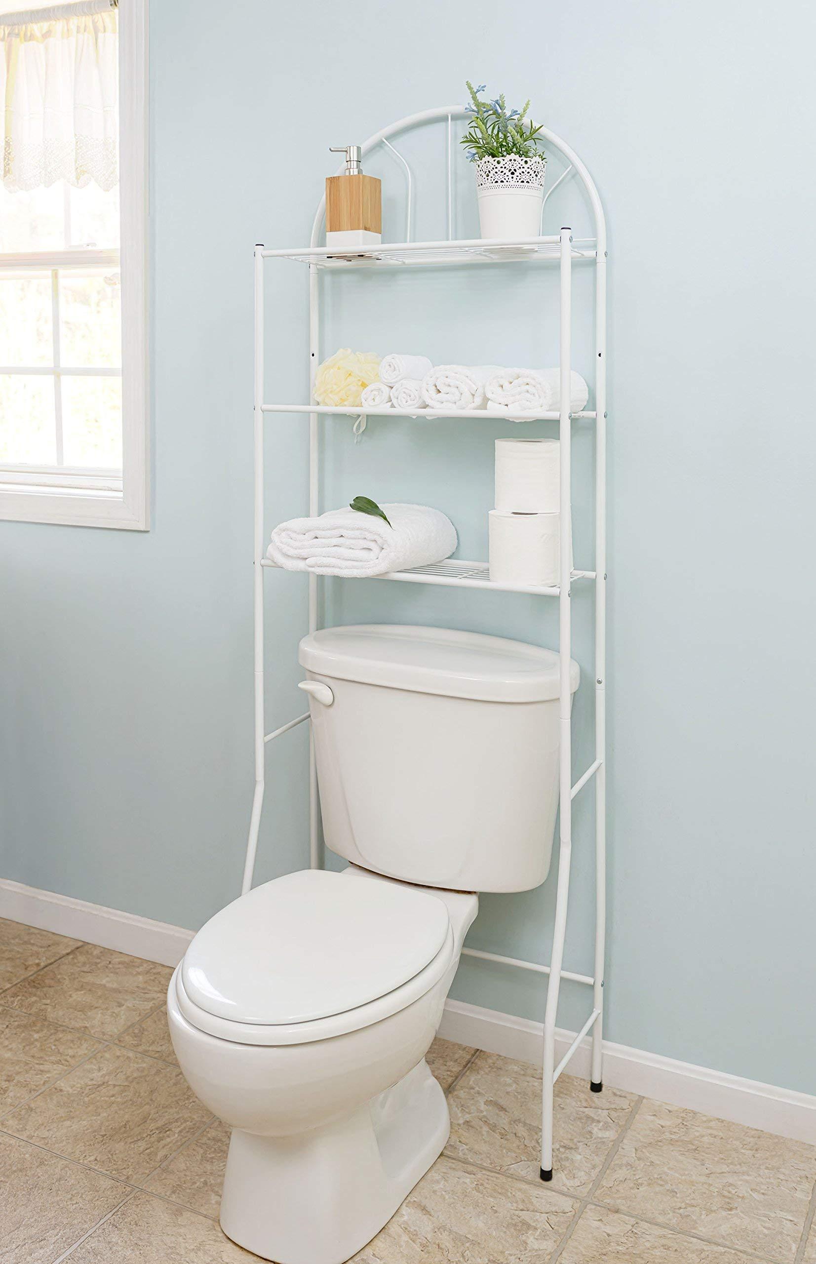 Home Basics SS10058 Bathroom Shelves Space Saver, White